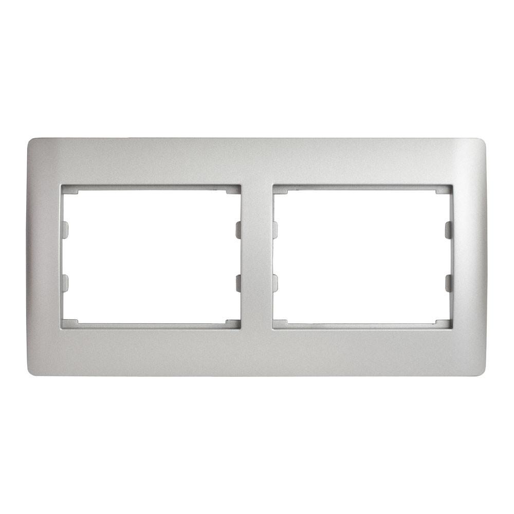 Рамка 2 места горизонтальная LXL Oscar серебряный металлик