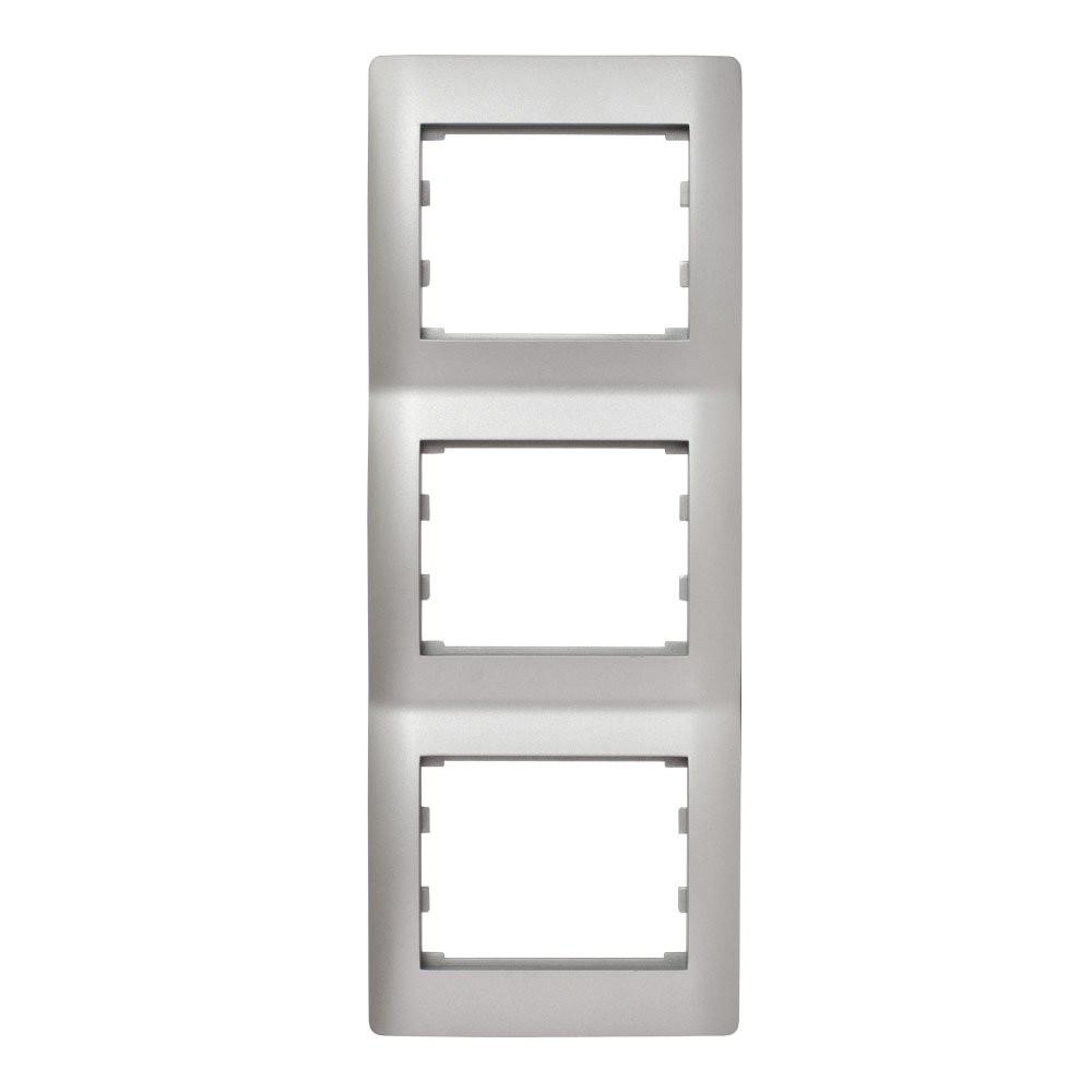 Вертикальна Рамка 3 місця LXL Oscar срібний металік