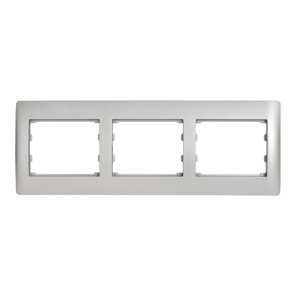 Рамка 3 места горизонтальная LXL Oscar серебряный металлик