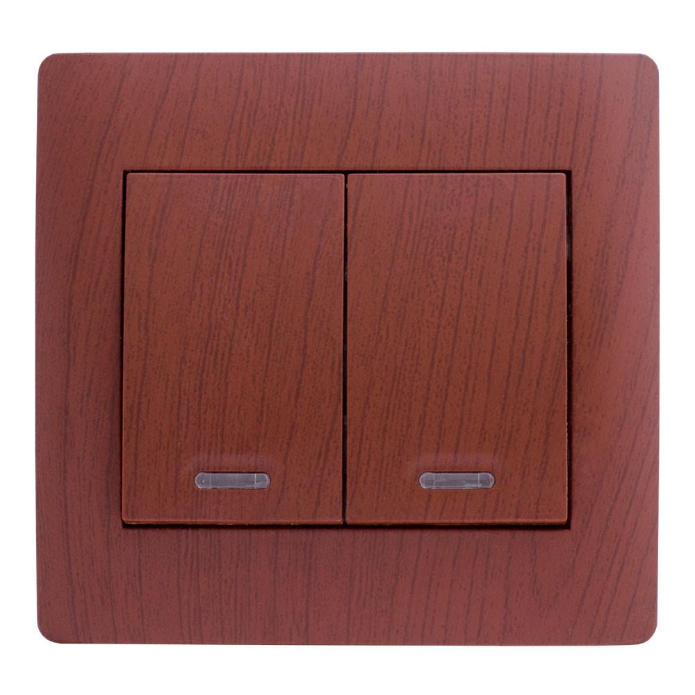 Выключатель двойной с подсветкой (с рамкой) LXL Oscar вишня