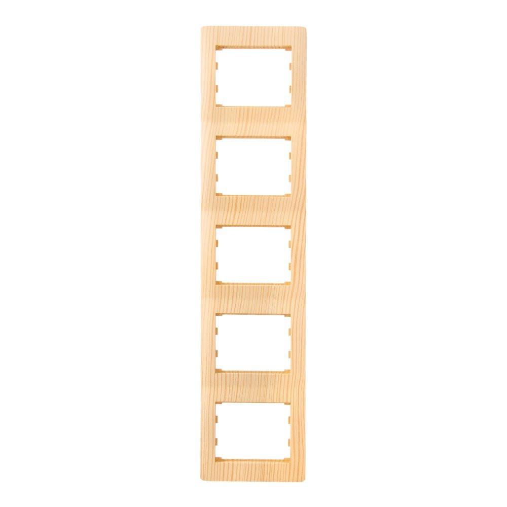 Рамка 5 мест вертикальная LXL Oscar дуб