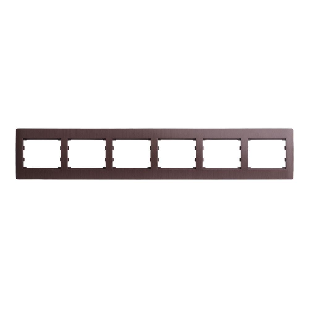 Рамка 6 місць горизонтальна LXL Oscar венге