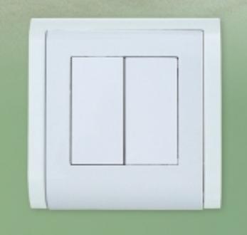 Выключатель двойной (овал) LXL Sirius белый