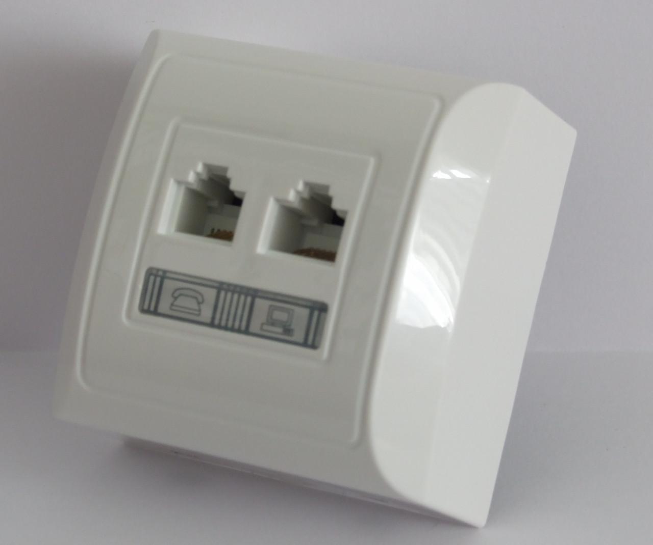 Розетка компьютерная кат. 5Е и телефонная RJ11 LXL Terra белая
