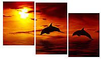 Модульная картина Декор Карпаты 100х53 см Дельфины (M3-t177)