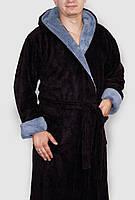 Халат махровый мужской длинный черный с капюшоном и карманами , фото 1