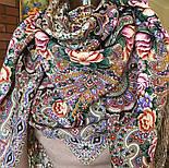Бенефис 1769-16, павлопосадский платок шерстяной (двуниточная шерсть) с шелковой вязаной бахромой, фото 6