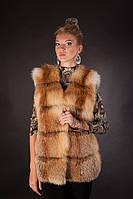 Меховая жилетка жилет безрукавка из рыжей лисы ярусами Spliced fox fur vest fur fur gilet fur sleeveless coat