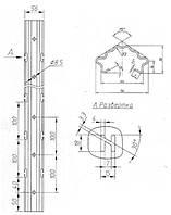 Металлическая опора, для установки шпалеры в садах и виноградниках.