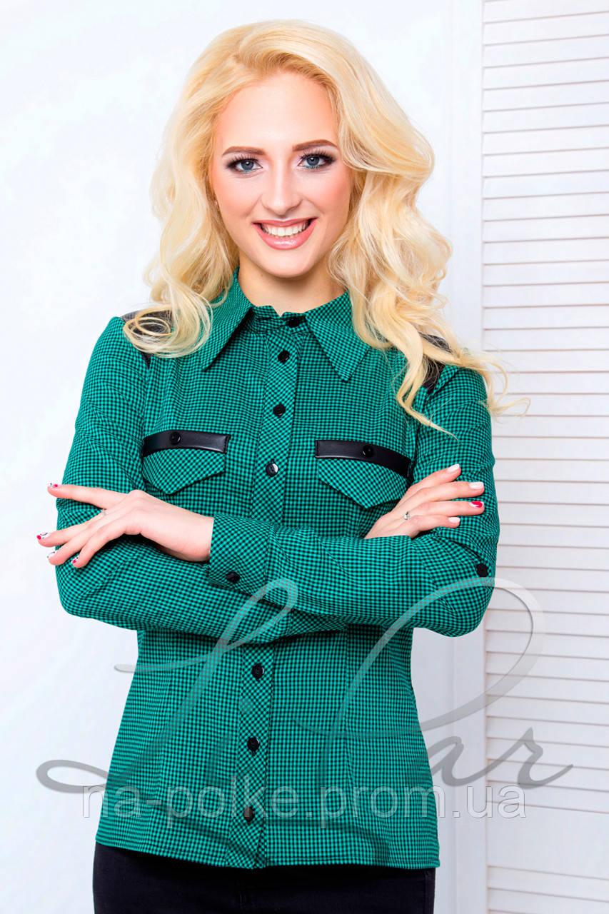 3ea17215834 2036 д р) Женская рубашка в клетку Зелёная Батал 50  продажа