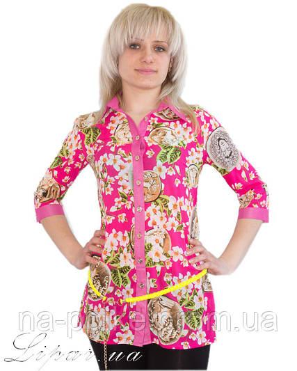 8a545458208 83) Женская рубашка с цветным принтом Розовая 46  продажа