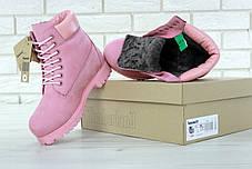 Зимние ботинки Timberland pink, женские ботинки с натуральным мехом. ТОП Реплика ААА класса., фото 3
