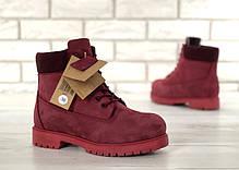 Зимние ботинки Timberland Wine, женские ботинки с шерстяным мехом. ТОП Реплика ААА класса., фото 3