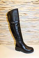 Сапоги ботфорты женские зимние черные без каблука натуральная кожа С759, фото 1