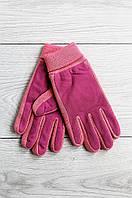 Перчатки женские текстильная вставка розовые 1556