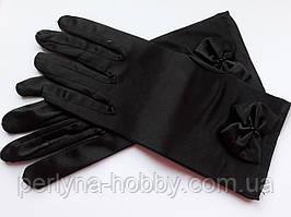 Рукавички жіночі атласні короткі 22 см. Чорні з бантиком.