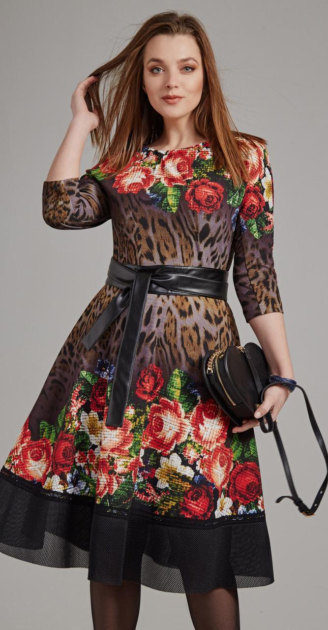 Платье Anna Majewska-1174 белорусский трикотаж, темные тона-леопард-цветы, 48
