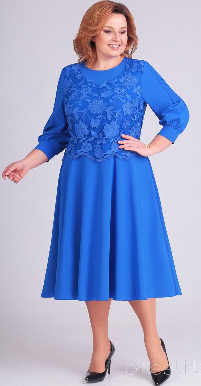 Платье Асолия-2383/1 белорусский трикотаж, василек, 56