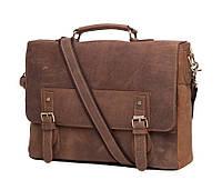 Мужской кожаный портфель TIDING BAG t0002 Коричневый