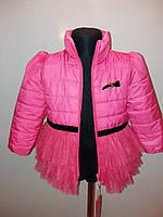 Куртка на девочку весна-осень нарядная низ фатин малиновий цвет теплая