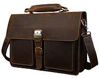 Мужской кожаный портфель TIDING BAG T10315 Коричневая