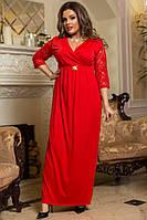 Нарядное длинное платье Микродайвинг и гипюр Размер 48 50 52 54 В наличии 2 цвета