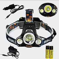 Налобный фонарик для охоты и рыбалки Boruit HL-720 T6 лэд диод фонарь