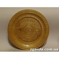Светлая деревянная  тарелка  с рисунком цветка (30 см.)