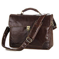 Кожаный портфель TIDING BAG 7091C Коричневый