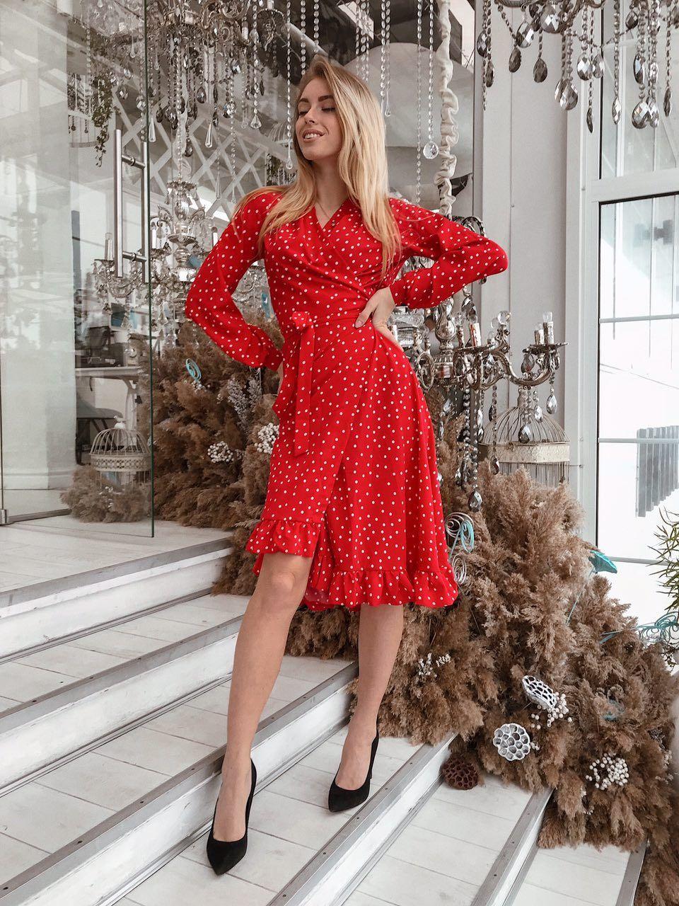 7dad5cd5cbc85f8 Красное платье в горох, размеры SМ, ML - Magret женская и мужская одежда от