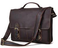 Мужской кожаный портфель Tiding Bag 7090R 38х30.5х7.5 см Темно-коричневый (Fyz3ha)