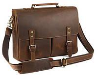 Мужской кожаный портфель TIDING BAG t0016 Коричневый