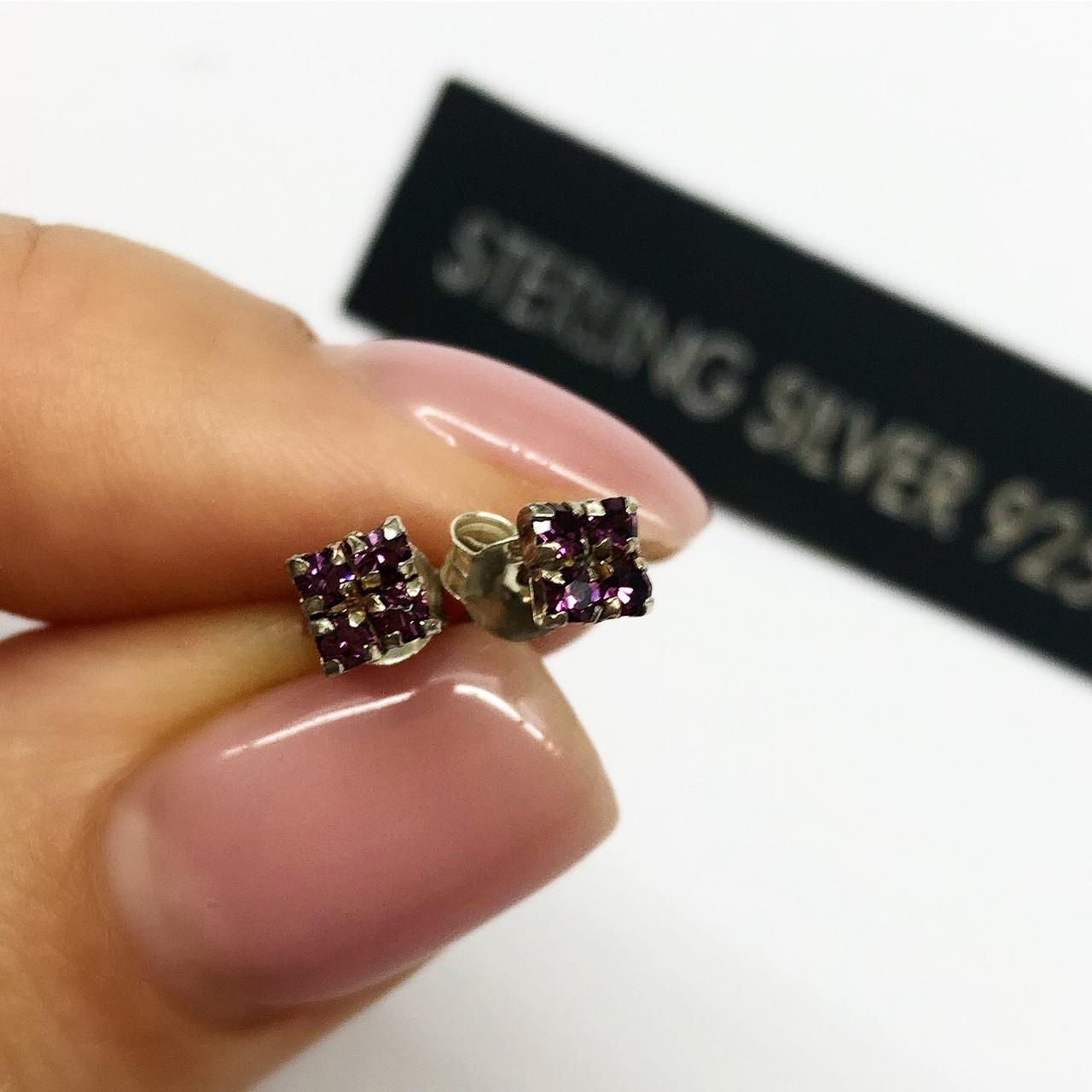 Серьги гвоздики из серебра Мої прикраси лиловые цирконы