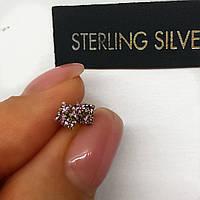 Серьги гвоздики из серебра Мої прикраси светло - лиловые цирконы