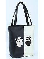 Женская сумка Kotico Комби Две совы вертикальная Черно-белый (SBc_346_vert_fly_f)