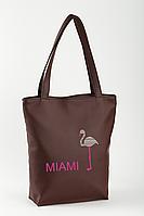 Сумка-шоппер с вышивкой Miami Коричневый (SB_025_fly_f)