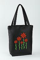 Женская сумка стандарт флай с вышивкой Цветы Черный