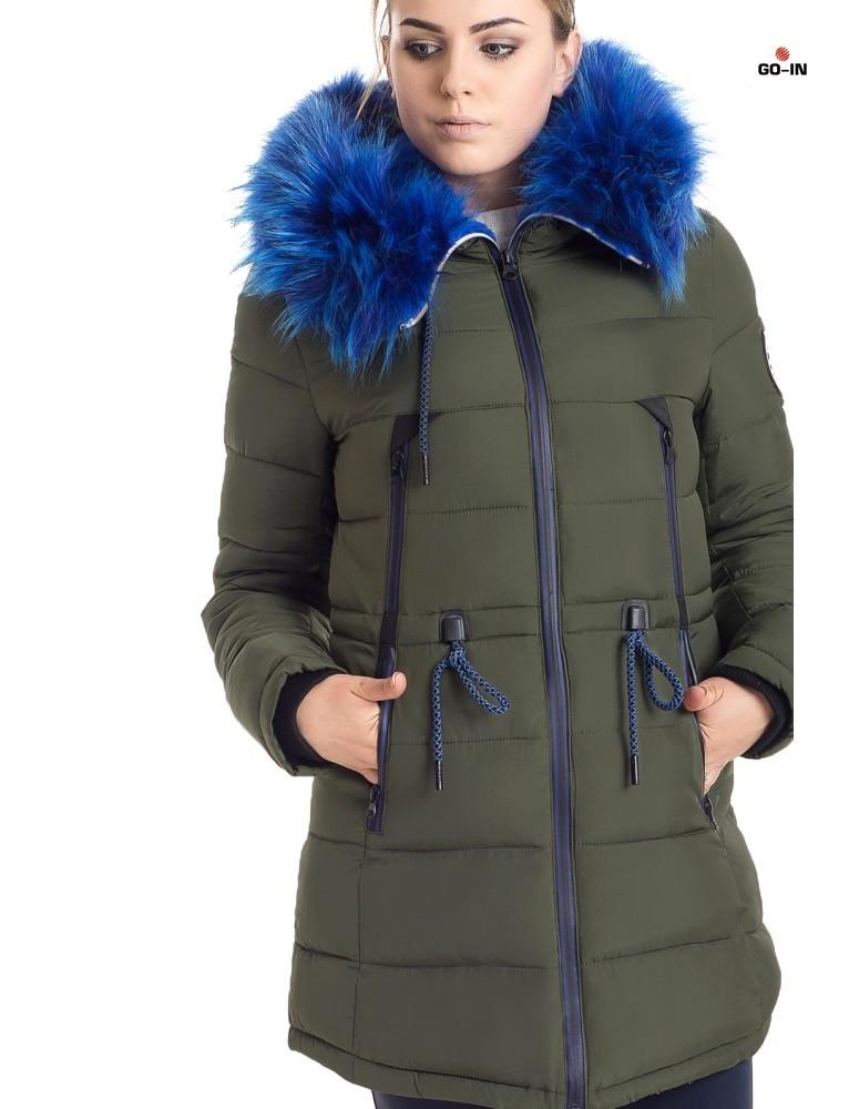 Женская зимняя куртка парка хаки