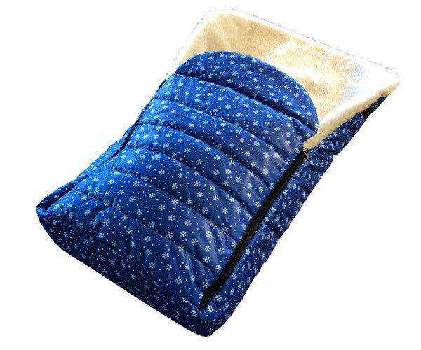 Зимний чехол для санок и колясок. Синий