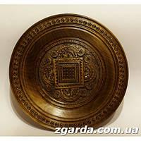 Деревянная  тарелка  с карпатскими геометрическими узорами (15 см.)