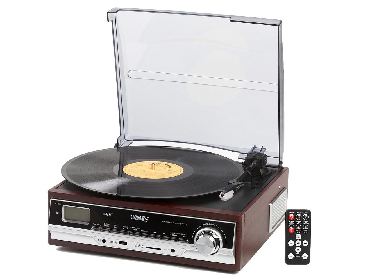 Грамофон Програвач CAMRY CR 1114 Радіо USB Будильник + Пульт