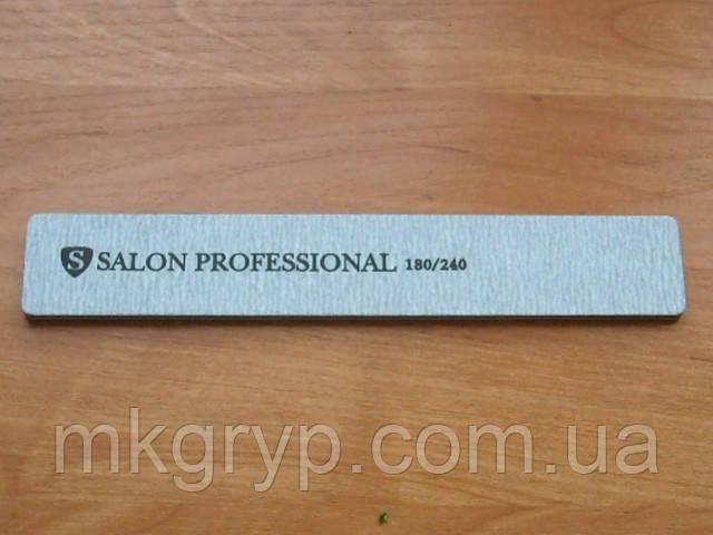"""Пилка """"Salon professional""""- серая , широкая , 180/240 грид"""