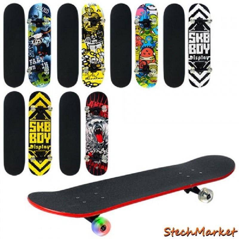 Полупрофессиональный скейт 0355 с цветными колесами 6 видов