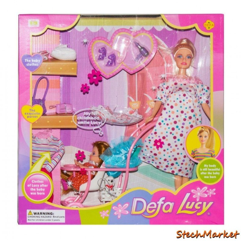 Кукла Defa беременная с коляской и ребёнком 8049