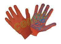 Перчатки рабочие вязаные  х.б. с ПВХ точкой 10-й класс  оранжевые, рукавички в'язані бавовняні з ПВХ крапкою