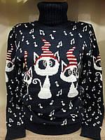 Новогодний теплый свитер с прикольными кошечками Турция р. 42-50