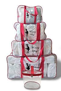 Набор из 4+1 прозрачных сумок в роддом Mommy Bag сумка - S,M,L,XL - Красные