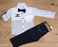 Детскийкостюмдлямальчика 1-4 года, белая рубашка с светло-серыми рукавами, черные брюки
