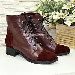 Ботинки бордовые женские кожаные демисезонные на каблуке, декорированы замшевыми вставками