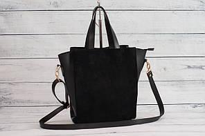 Женская замшевая mini сумка, черный цвет ( код: IBG112B1 )